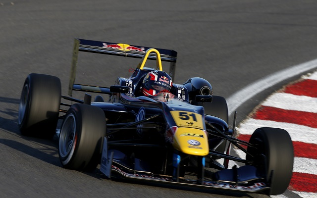 Red Bull junior Daniil Kvyat has converted his fifth pole position in the European F3 series into his first victory, taking the checkered flag in race one at Zandvoort.