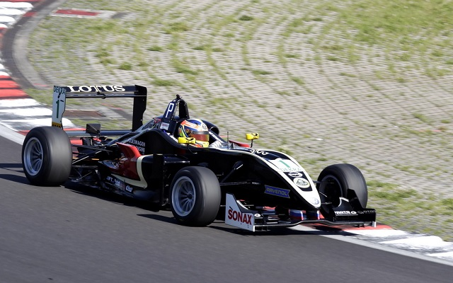 Motopark racer Artem Markelov has taken his second victory of the 2013 German F3 season, holding his charging teammate Marvin Kirchhofer back in the closing stages of an intense race three at Lausitz.