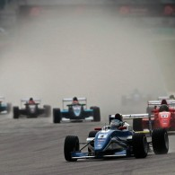 Estonian racer Martin Rump mastered the tricky wet conditions to win his first race in the Formula Masters China Series.