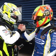Lando Norris triumphed in a battle with Carlin team-mate Ricky Collard to win the first BRDC British Formula 3 race of the weekend at Rockingham.