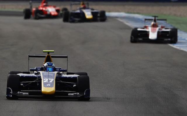 Jake Hughes has taken his maiden win in GP3 in the second race at Hockenheim.