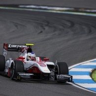 Sergey Sirotkin has taken pole position at Hockenheim for the GP2 feature race.