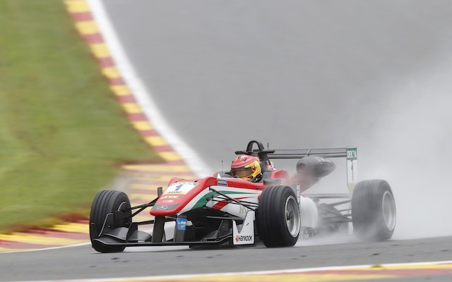 Lance Stroll has taken another win in the FIA Formula 3 European Championship as wet weather shortened the first race at Spa-Francorchamps.
