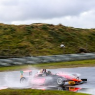 Kami Laliberte grabbed a maiden single-seater victory in a wet final ADAC Formula 4 race of the weekend at Zandvoort, cut short following a crash involving title rivals Joey Mawson and Mick Schumacher.