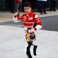Charles Leclerc has wrapped up the GP3 title with a race to spare after rival Alex Albon crashed out of race one in Abu Dhabi while fighting for the win, which went to Nyck de Vries.