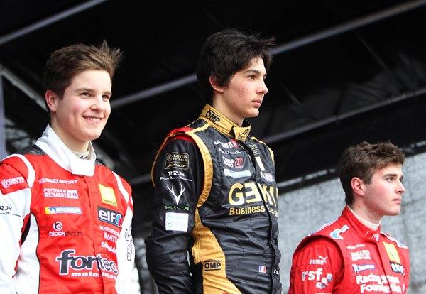 Mikko Pakari, Esteban Ocon and Oliver Rowland